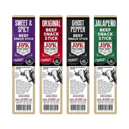 J&K Beef jerky Label designs