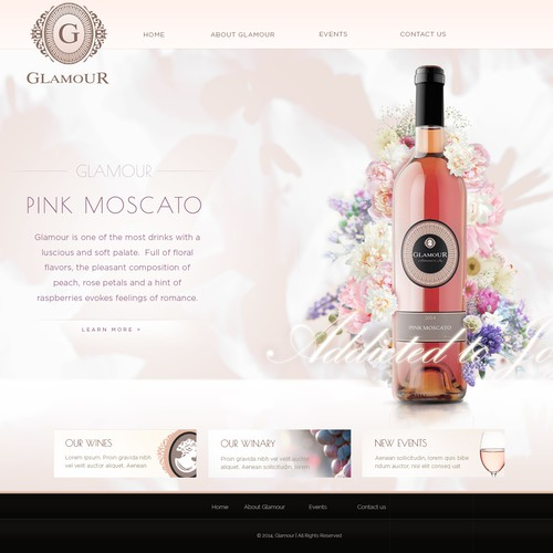 Glamour rose wine design