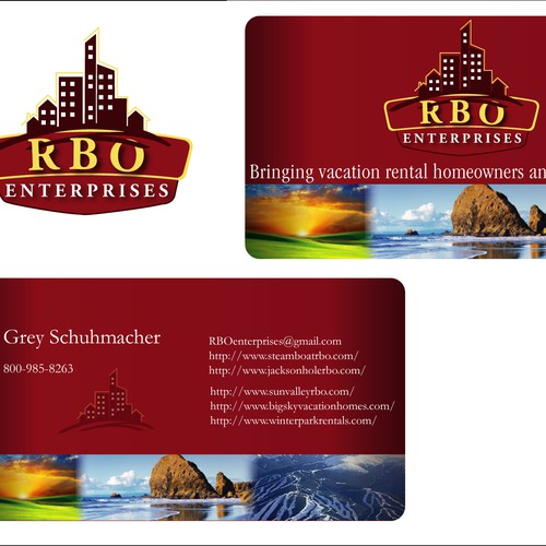 logo and business card for RBO Enterprises