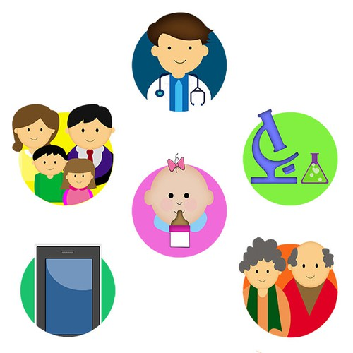 Create 6 family/healthcare graphics for new website homepage.