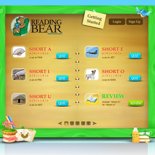 Website design for the new Reading Bear!