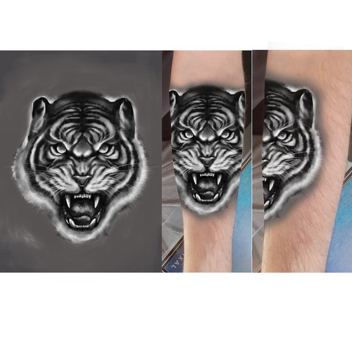 black and grey tiger tattoo flash