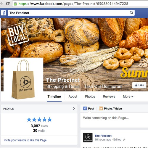 Facebook cover - innovative design welcome -  for an exciting food retail centre!