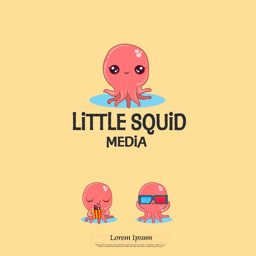 fun cute logo for Little Squid Media