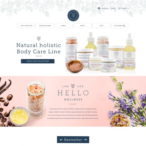 Landing Page for Natural holistic Body Care Line
