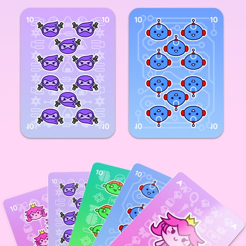 Design robot ninja zombie princess playing cards