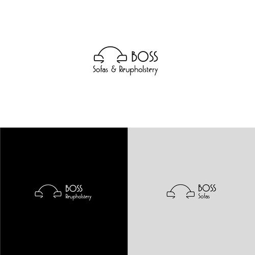 Simple logo concept for Boss Sofas and Reuphosltery