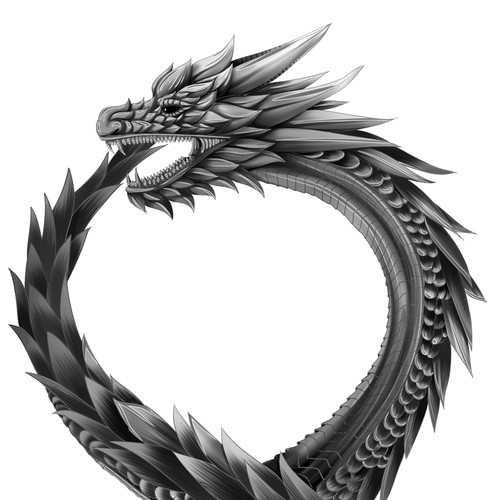 Dragon Eating Its Tail Tattoo Highly Detailed