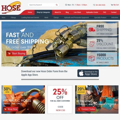 ew E-Commerce site for Hose Distributor