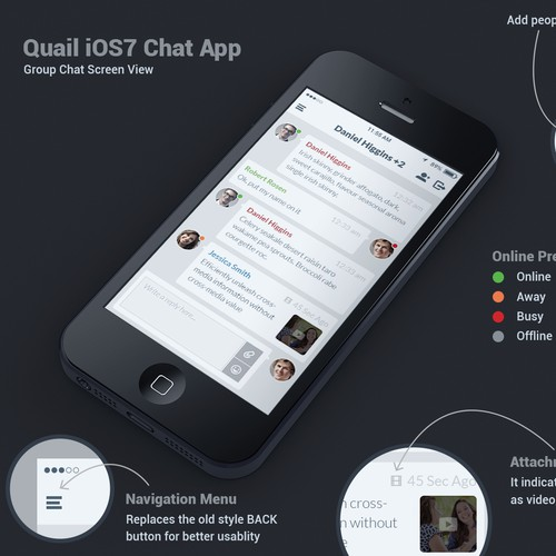 QUAIL: Simple & Clean Mobile Messaging App design required **GUARANTEED** + WORK