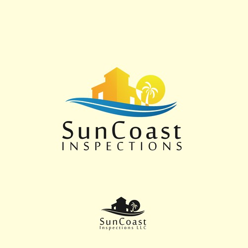 beach and sun logo concept