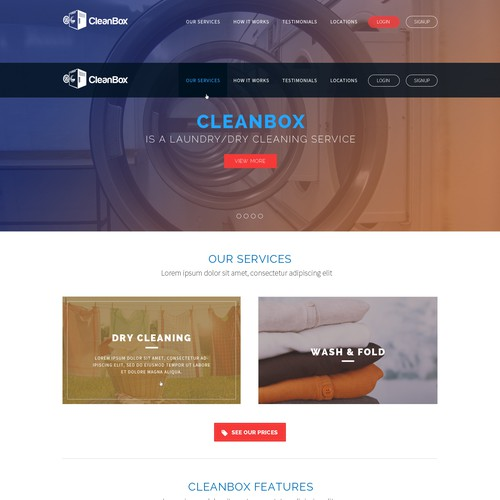 "Locker-based Startup ""CleanBox"" looking for a neat & simple landingpage."