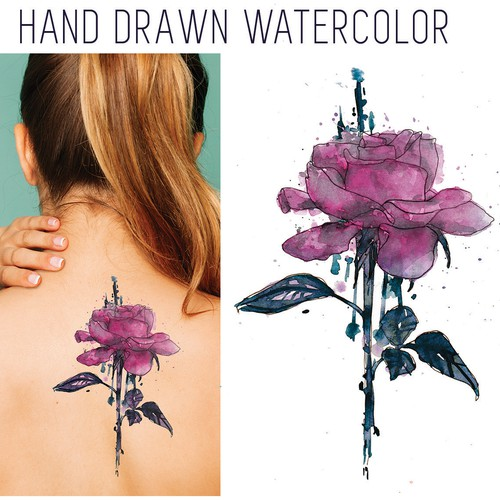 Hand drawn watercolor tattoo