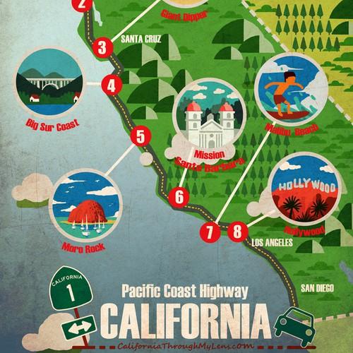The Pacific Coast Highway California map design