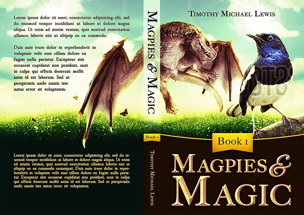 "Create a book cover for Young Adult Fantasy title ""Magpies and Magic"""
