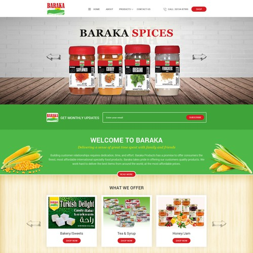 Home Page Design For Baraka Products