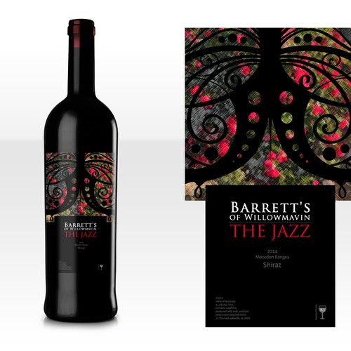 Barretts 'The Jazz' Shiraz Premium Wine Label Design