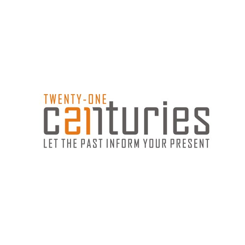 Create a simple, history-themed logo for Twenty-One Centuries