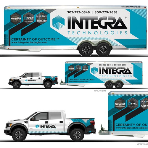 Truck trailer combination wrap for Integra