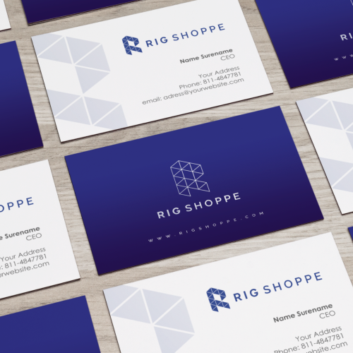 Logo and business card design for Rig Shoppe.