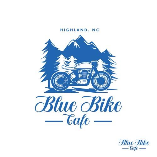 blue bike cafe tshirt design