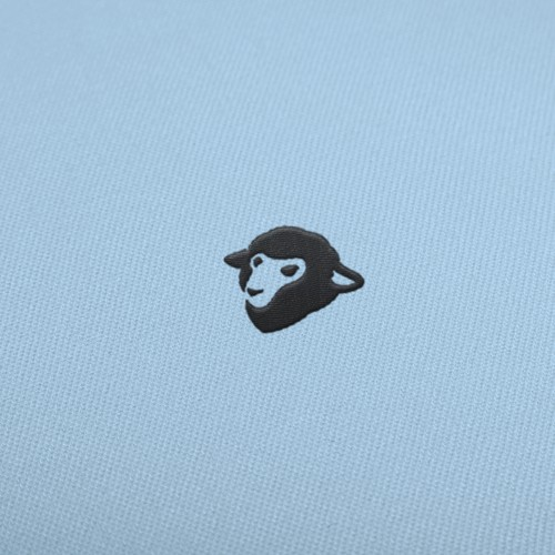 Minimal negative space sheep logo.