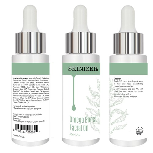 Product Label for facial oil