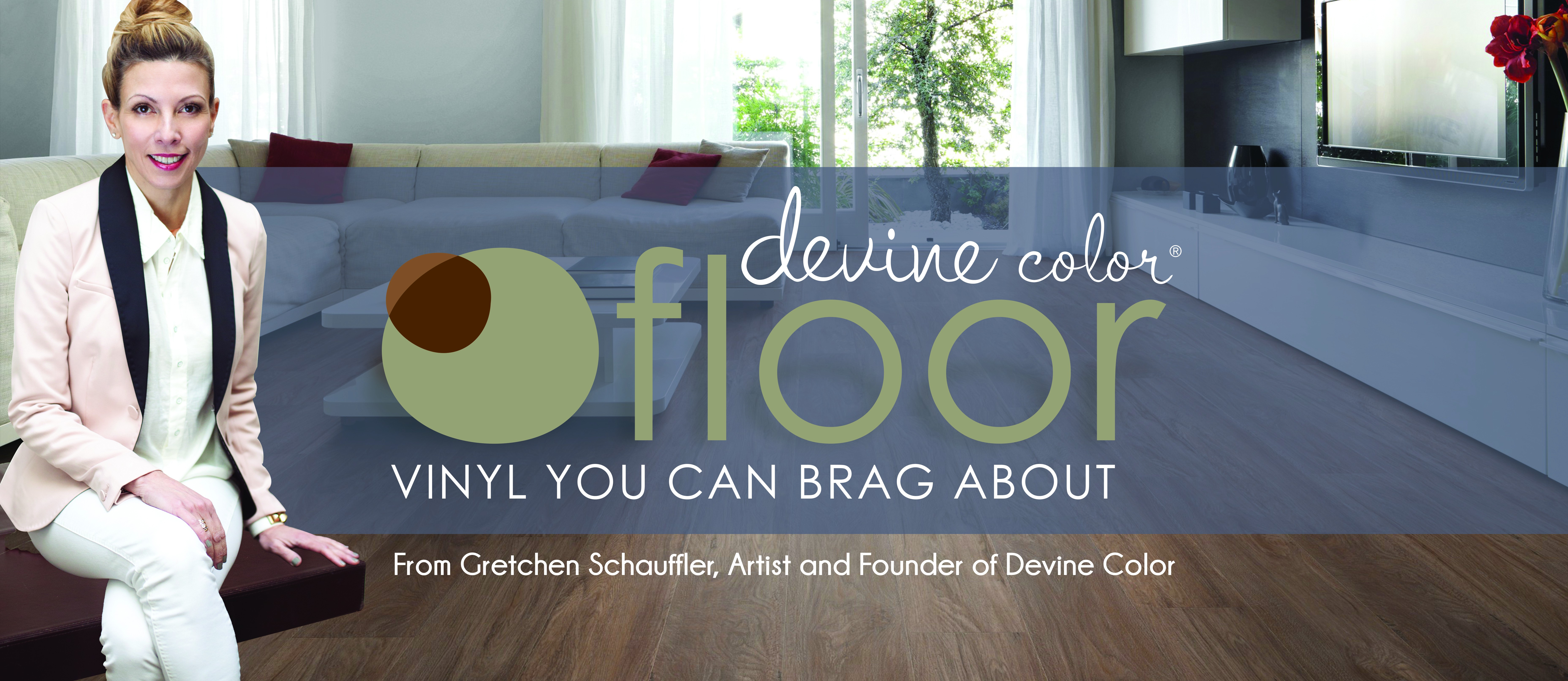Create a unique, female-oriented display banner for Devine Color Floor