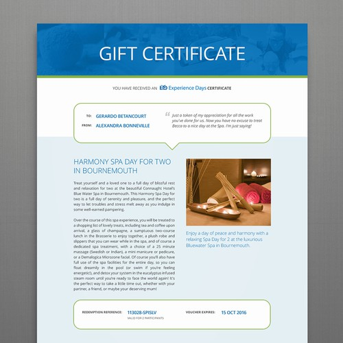 Experience Days Certificate