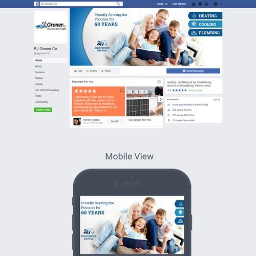 Facebook封面照片为加热,冷却和管道公司