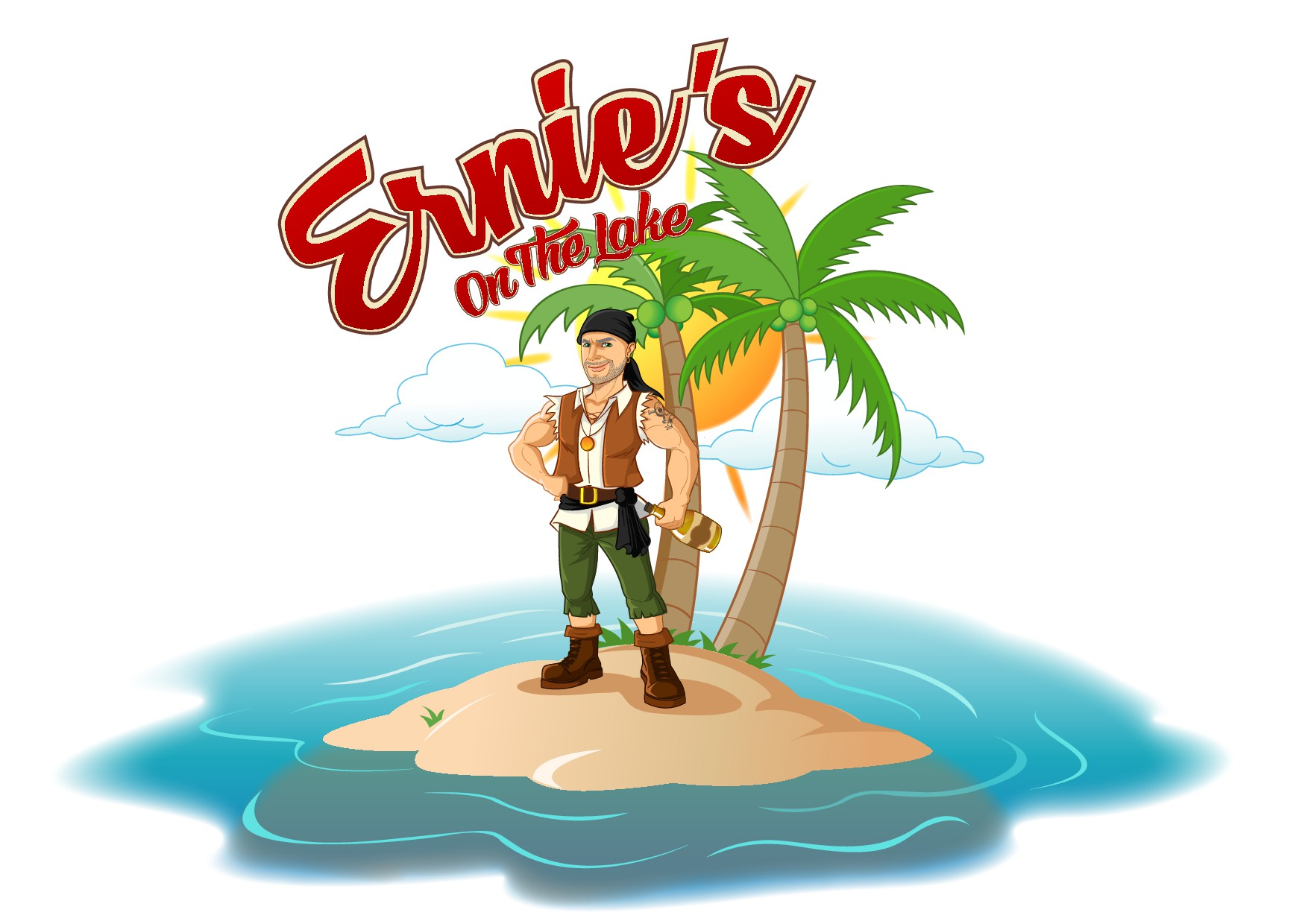 Create edgy Pirate character and logo for Restaurant/Bar on the Lake