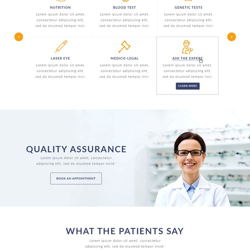 Private optometrist webpage design
