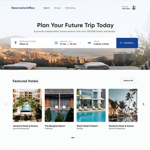 Hotel Reservation Homepage Design