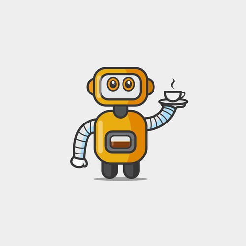 Robot icon with coffe