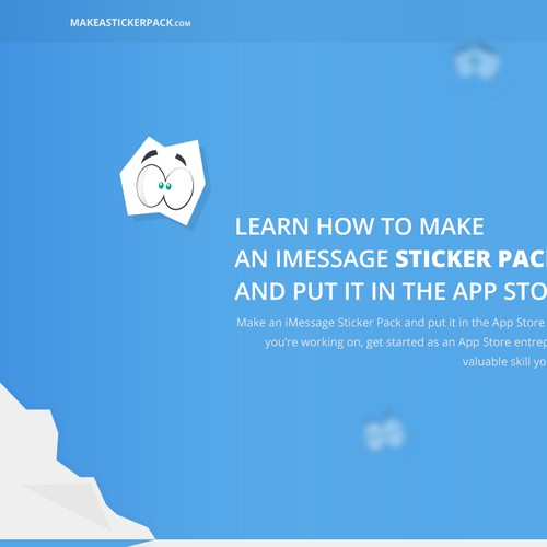 "Landing Page for ""MakeAStickerPack"" Course!"