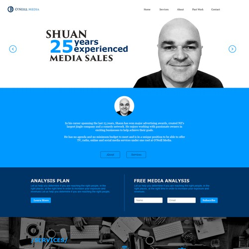 Oneill Media landing page