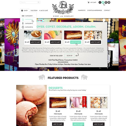 Vintage web design for ecommerce site.