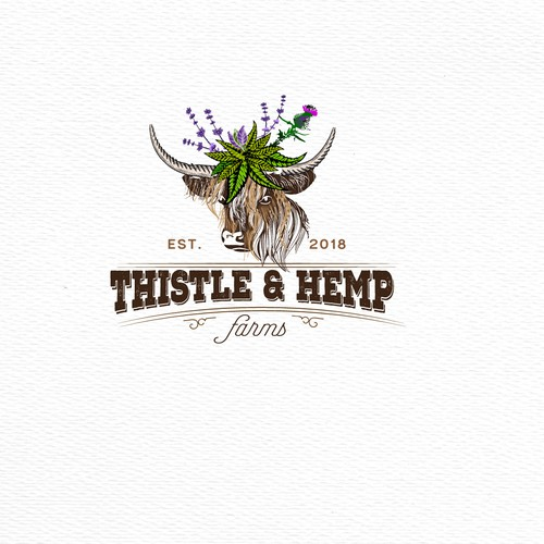 Thistle and hemp logo design