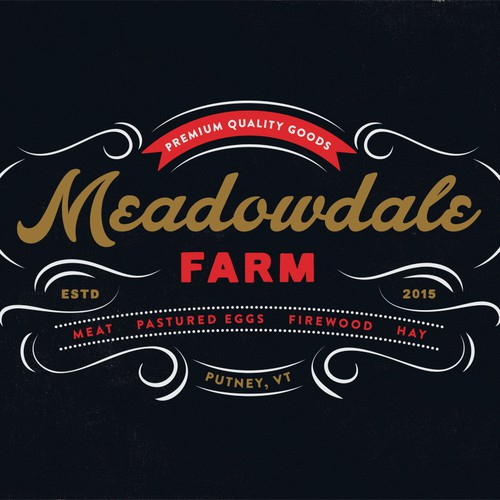 Design a vintage inspired logo for a diversified family farm in the Green Mountains.