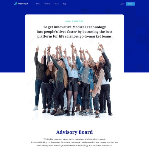About Us page design for MedScout