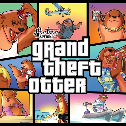 Grand Theft Otter beer label