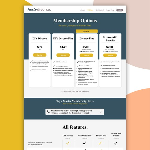 Pricing Table for B2B Lawyer Firm