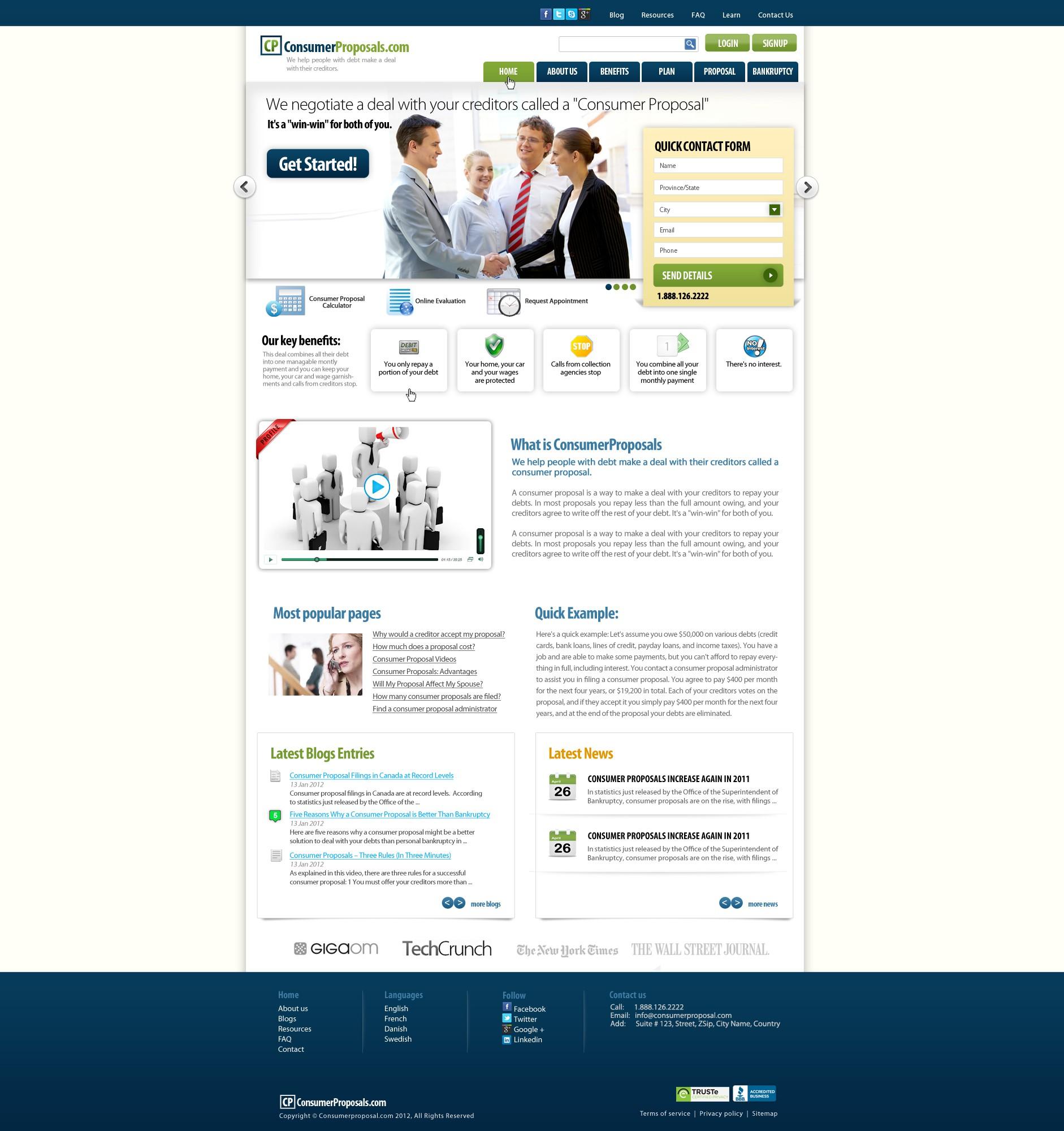 Create the next website design for ConsumerProposals.com