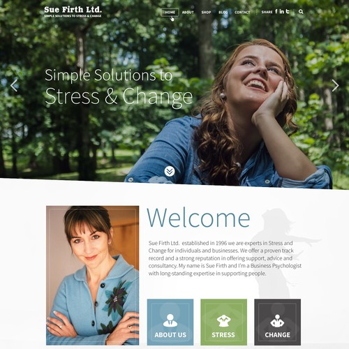 Stress management consultant web page design