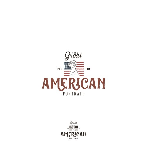 Line art logo concept for American Potrait