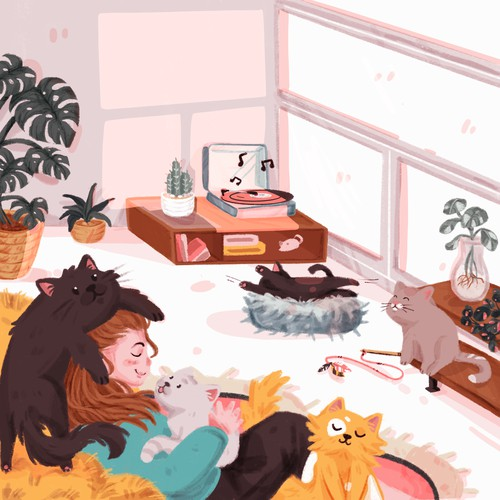 chilling with the cats