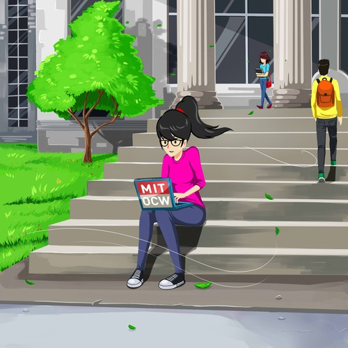 Illustration of a learner sitting on the steps of MIT's Killian Court (2nd design)