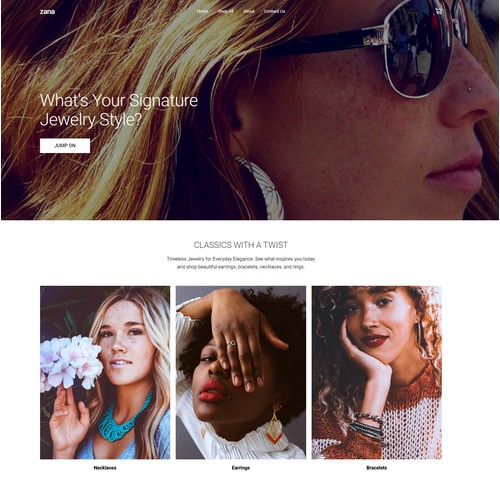 Ecommerce website for women's jewelry