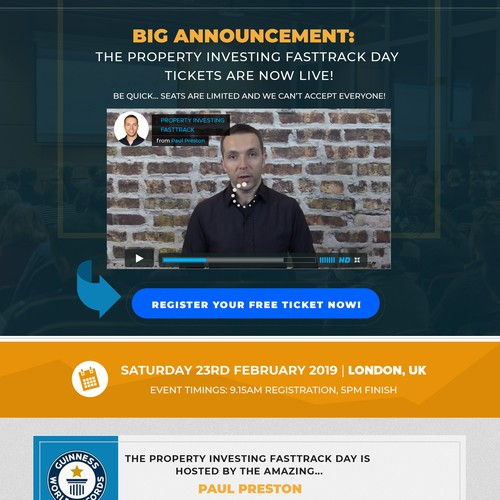 Property Investor Event Page Redesign