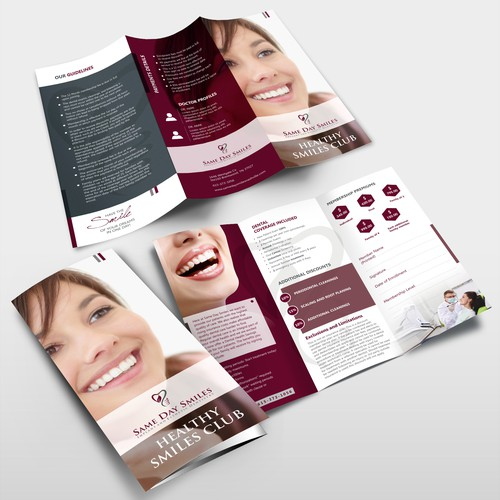 Same Day Smiles needs a sophisticated new Brochure for their Healthy Smiles Club